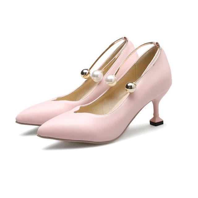 [현재분류명],180822BOSUK-3008 진주 장식 미들힐 구두 WD,여성신발,플랫슈즈,패션화,여성화,구두선물