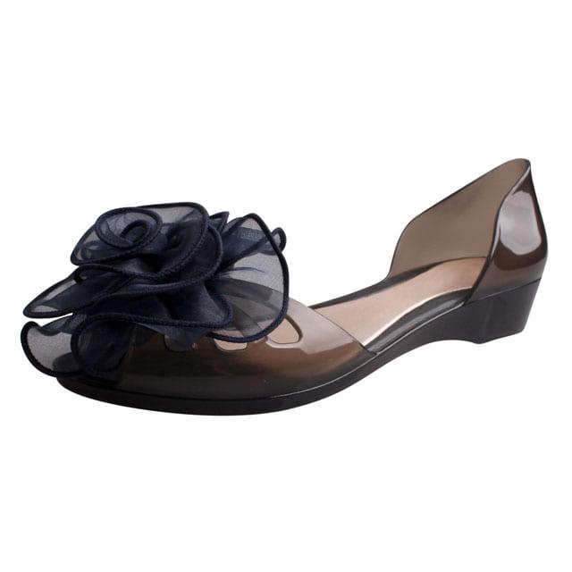 [현재분류명],180822BOSUK-3011 플라워 레이스 플랫 젤리슈즈 WD,여성샌들,젤리슈즈,비치샌들,여름신발,신발선물