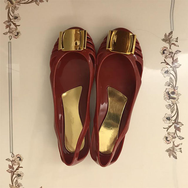 [현재분류명],180822BOSUK-3012 리본 금장 플랫 젤리슈즈 WD,여성샌들,젤리슈즈,비치샌들,여름신발,신발선물