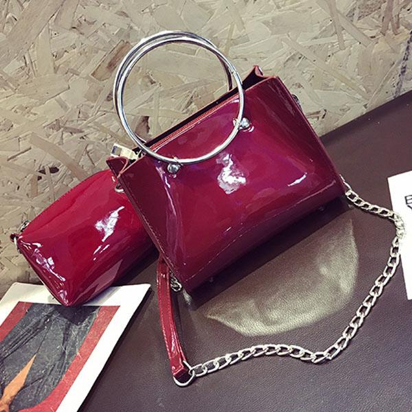 [현재분류명],180822BOSUK-2990 링 손잡이 애나멜 핸드백 WD,여성가방,숄더가방,패션가방,여성핸드백,가방선물